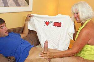Slutty over 60 Granny Jennie Lou Milks lovely much younger lover, see hot mature handjob video