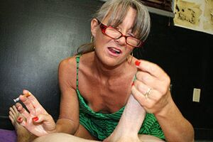 Smoking handjob ends with massive cum spurt in the air, old mature sex video