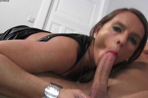 Hot Big breasted German MILF gagging above a hard cock