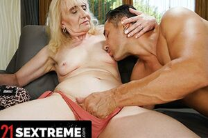 Muscular Dude Loads Up Granny's Mouth With Cum