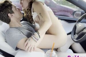 Sexy Brunette Fucking while the Car is Driving! 4k